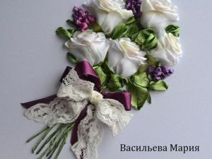 "Ribbon Embroidery ""Bouquet of White Roses"". Livemaster - handmade"
