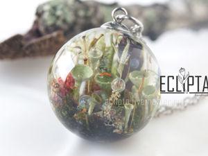 ВИДЕО. Кулон-шар 30 мм Microworld с лишайниками из эпоксидной смолы. Ярмарка Мастеров - ручная работа, handmade.