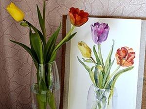 Видео мастер-класс: рисуем тюльпаны с натуры. Ярмарка Мастеров - ручная работа, handmade.