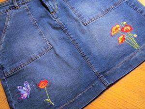 Делаем машинную вышивку на джинсовой юбке. Ярмарка Мастеров - ручная работа, handmade.