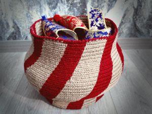 Вяжем корзину из джутового шпагата натурального и красного цветов. 1 часть. Ярмарка Мастеров - ручная работа, handmade.