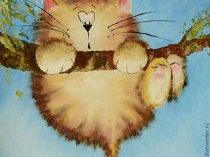 Рисуем гуашью котика на дереве. Мастер-класс. Ярмарка Мастеров - ручная работа, handmade.