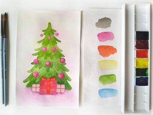 Как нарисовать новогоднюю елку?/ Видео мастер-класс. Ярмарка Мастеров - ручная работа, handmade.