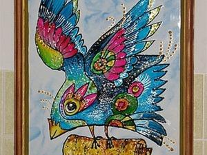 Витражная роспись по стеклу: создаем картину «Птица счастья». Ярмарка Мастеров - ручная работа, handmade.