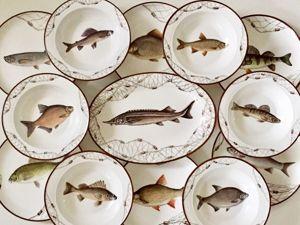 Обеденный сервиз  «Речные рыбы». Ярмарка Мастеров - ручная работа, handmade.