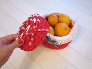 Вяжем новогоднюю корзиночку. Ярмарка Мастеров - ручная работа, handmade.