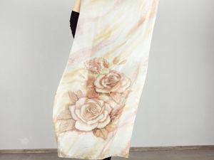 Палантин  «Розы рыжие»  — батик. Ярмарка Мастеров - ручная работа, handmade.