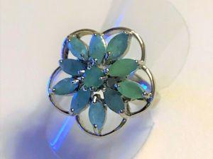 Видеоролик: кольцо серебряное, натуральные изумруды  «Изумрудный цветок». Ярмарка Мастеров - ручная работа, handmade.