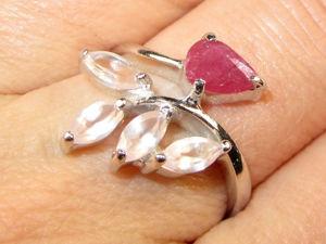Кольцо с рубином, розовым кварцем серебряное. Ярмарка Мастеров - ручная работа, handmade.