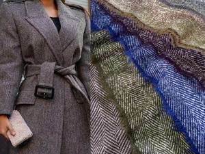 Пальтовая ткань с узором  «Елочка» . 6 цветов. Ярмарка Мастеров - ручная работа, handmade.