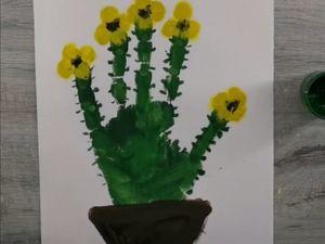 Рисуем ладошками кактус. Ярмарка Мастеров - ручная работа, handmade.