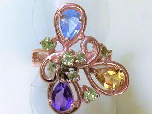 Видеоролик: Кольцо серебряное с натуральными камнями  «Фруктовый лед». Ярмарка Мастеров - ручная работа, handmade.