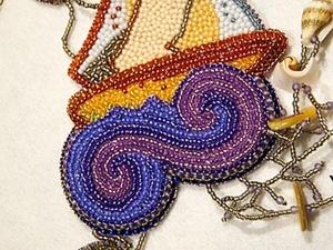 """Кулон из бисера и ракушек """"Кораблик"""". Часть 1. Ярмарка Мастеров - ручная работа, handmade."""