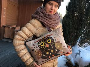 Женская сумка с актуальной росписью «Совушка». Ярмарка Мастеров - ручная работа, handmade.