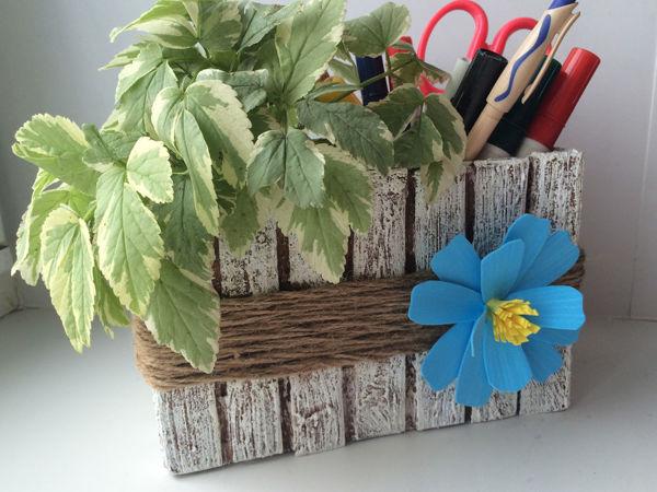 Цветочный кашпо — органайзер из джута и картона своими руками | Ярмарка Мастеров - ручная работа, handmade