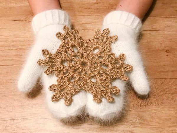 Вяжем снежинку из джута крючком   Ярмарка Мастеров - ручная работа, handmade