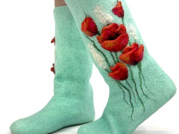 Мастер-класс по мокрому валянию  «Носочки с цветочным декором» | Ярмарка Мастеров - ручная работа, handmade