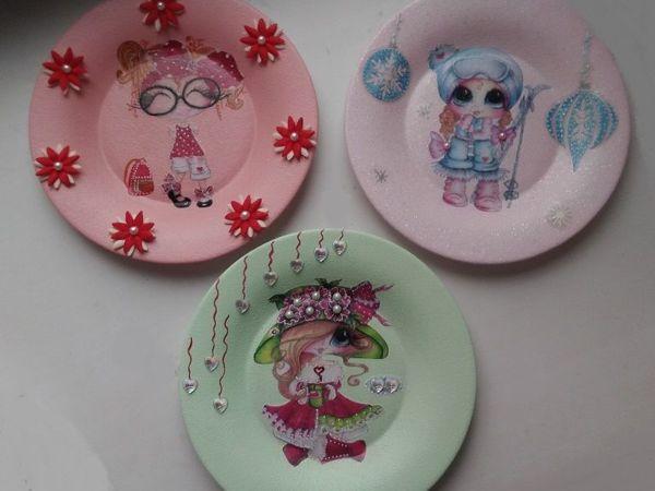 Тарелки декоративные «Куклы Шерри» | Ярмарка Мастеров - ручная работа, handmade