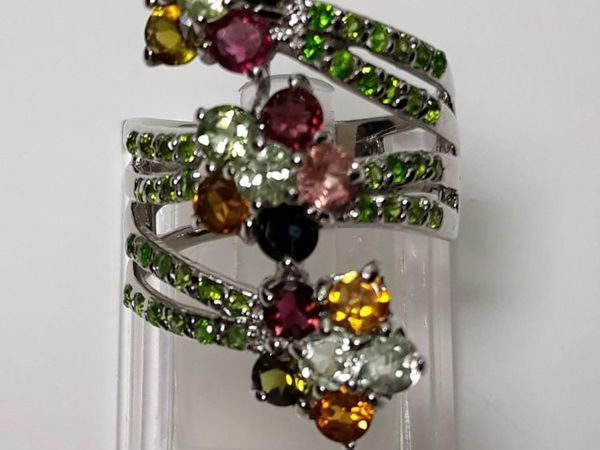 Серебряное кольцо с натуральными турмалинами  «FLORA» | Ярмарка Мастеров - ручная работа, handmade