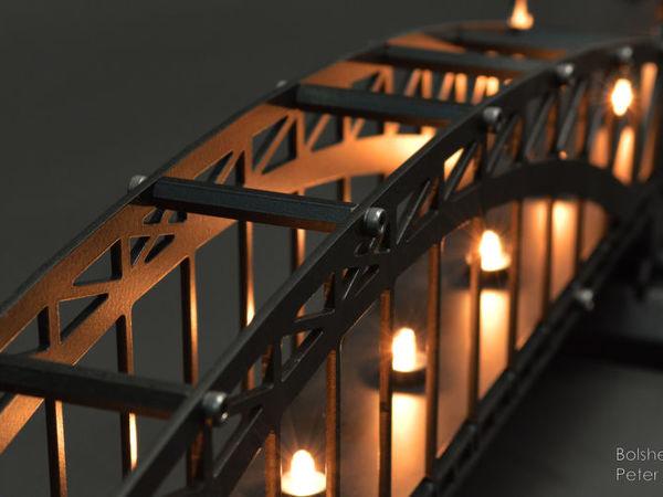 Интерьерный светильник Большеохтинский мост | Ярмарка Мастеров - ручная работа, handmade