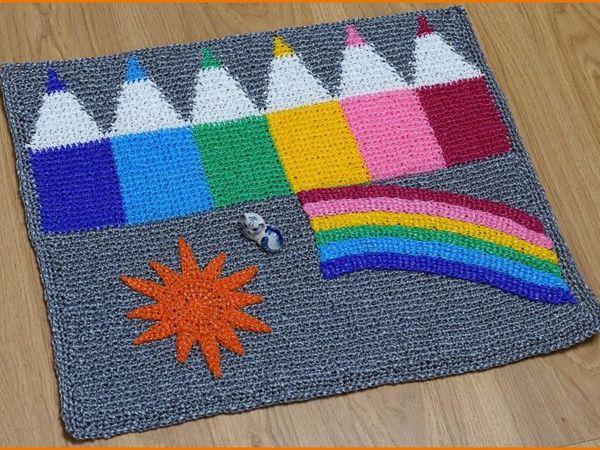 Вяжем крючком коврик из полипропиленовой пряжи «Карандаши». Часть 2 | Ярмарка Мастеров - ручная работа, handmade