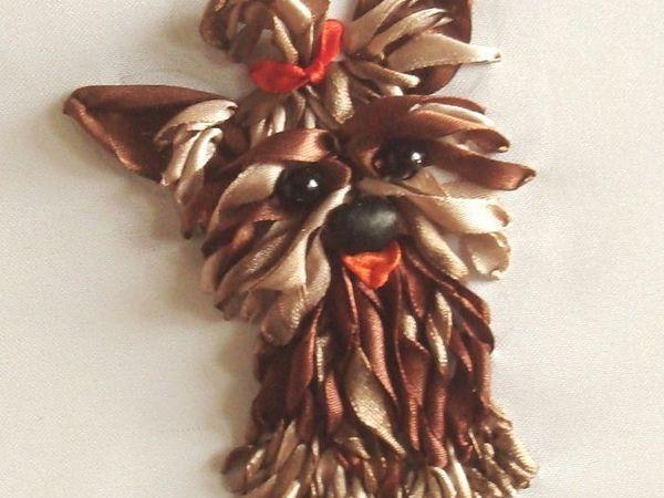 Вышиваем собачку атласными лентами | Ярмарка Мастеров - ручная работа, handmade