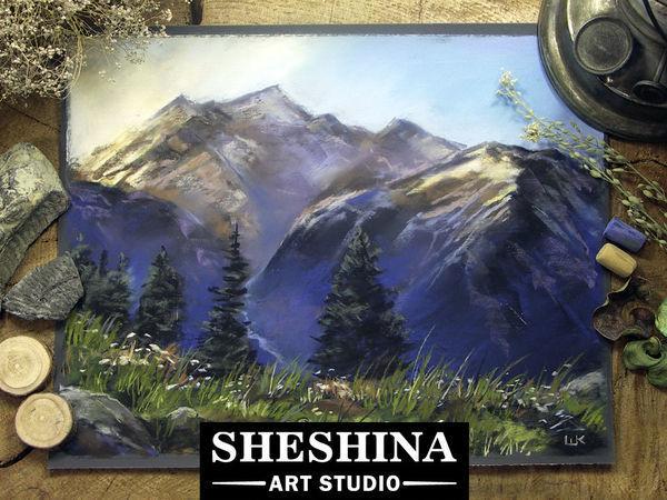 Рисуем восход в горах сухой пастелью   Ярмарка Мастеров - ручная работа, handmade