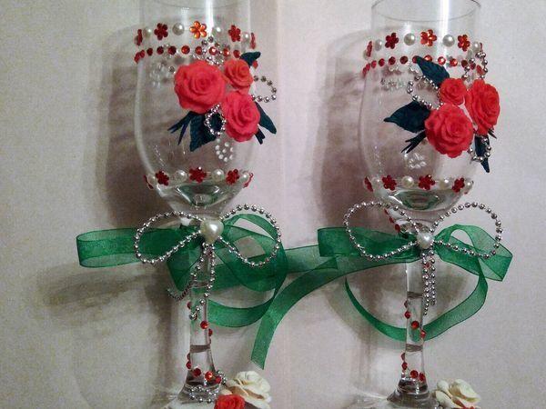 Мастер-класс по оформлению свадебных бокалов | Ярмарка Мастеров - ручная работа, handmade