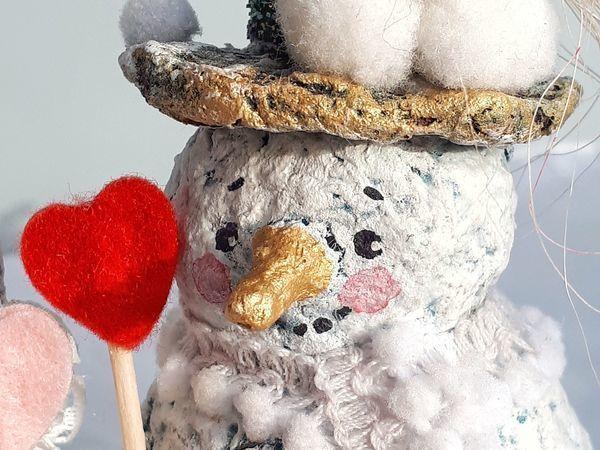Лепим с детьми нежных снеговичков из папье-маше | Ярмарка Мастеров - ручная работа, handmade