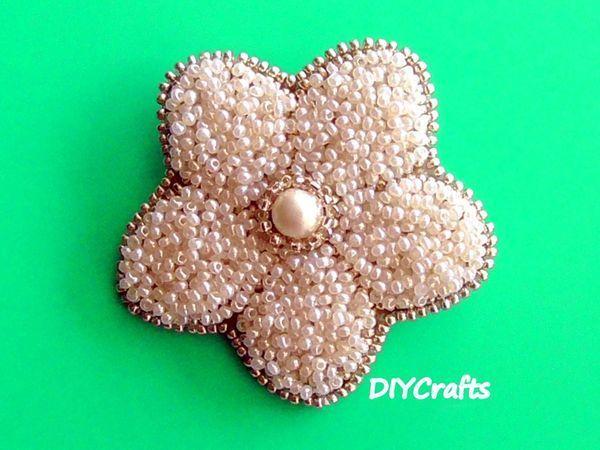 Создаем брошь «Цветок» из бисера | Ярмарка Мастеров - ручная работа, handmade