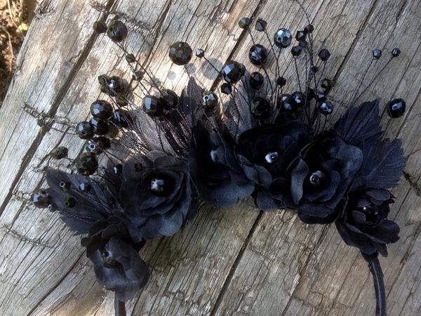 Обруч для волос Черная королева   Ярмарка Мастеров - ручная работа, handmade
