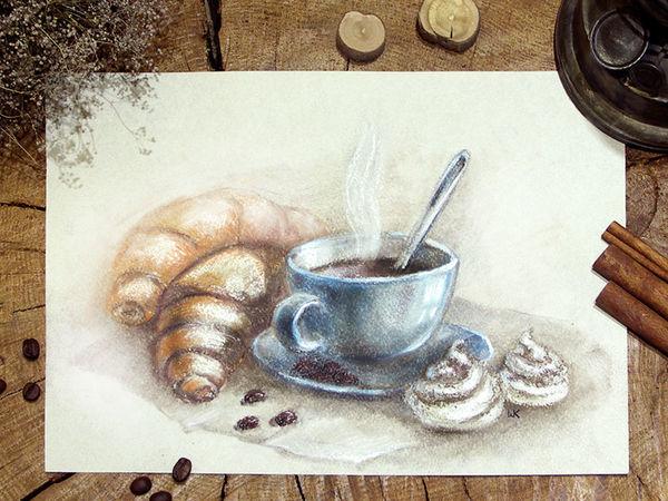 Как нарисовать пастелью чашечку кофе с круассанами и безе | Ярмарка Мастеров - ручная работа, handmade