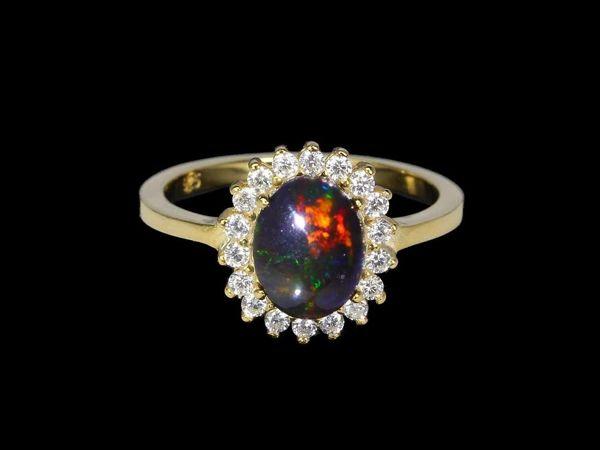 Серебряное кольцо с опалом, 18 размер | Ярмарка Мастеров - ручная работа, handmade