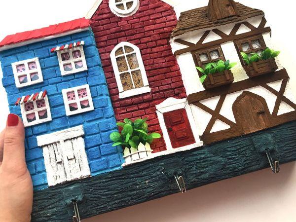 Ключница «Домики» своими руками из картона | Ярмарка Мастеров - ручная работа, handmade