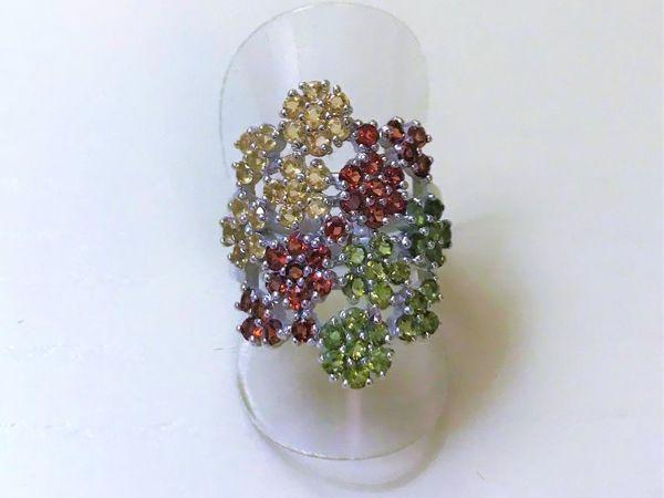 Видеоролик: кольцо серебряное с натуральными камнями  «Цветущий сад» | Ярмарка Мастеров - ручная работа, handmade