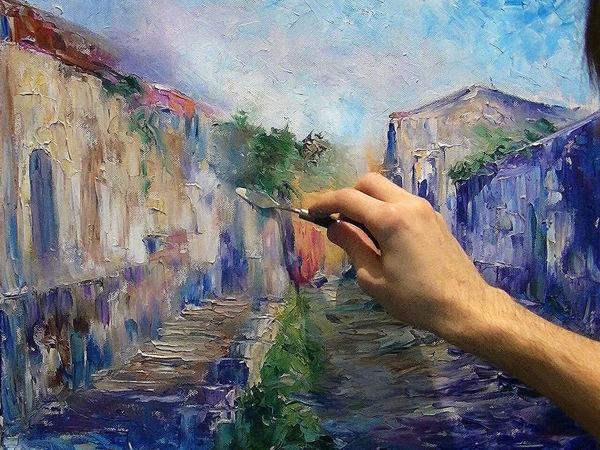 Учимся живописи мастихином. Солнечная улочка. Часть 1 | Ярмарка Мастеров - ручная работа, handmade