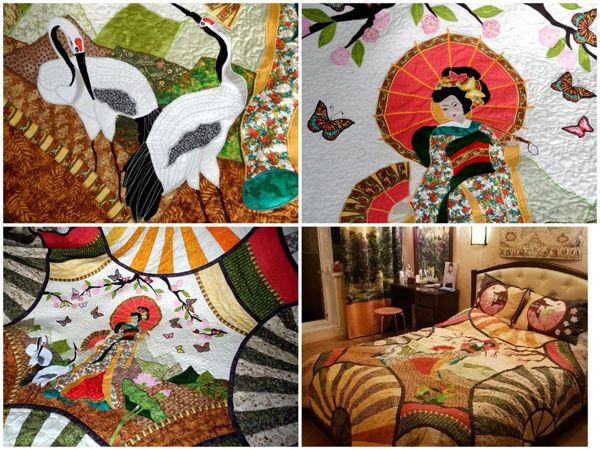 Лоскутное покрывало в спальню  «Чио-Чио-Сан»  — современное лоскутное шитье в интерьере! | Ярмарка Мастеров - ручная работа, handmade