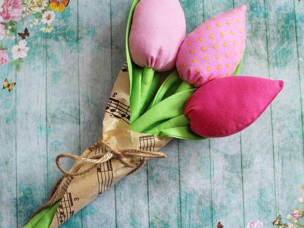 Букет из 3 текстильных тюльпанов! | Ярмарка Мастеров - ручная работа, handmade