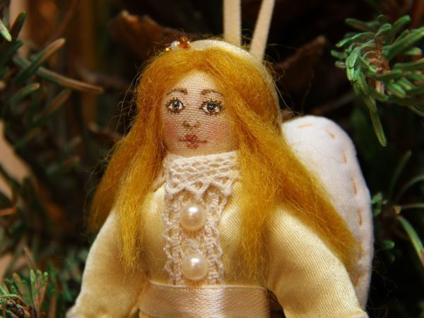 Рождественский Ангелочек: создаем ёлочную игрушку - текстильную куколку | Ярмарка Мастеров - ручная работа, handmade