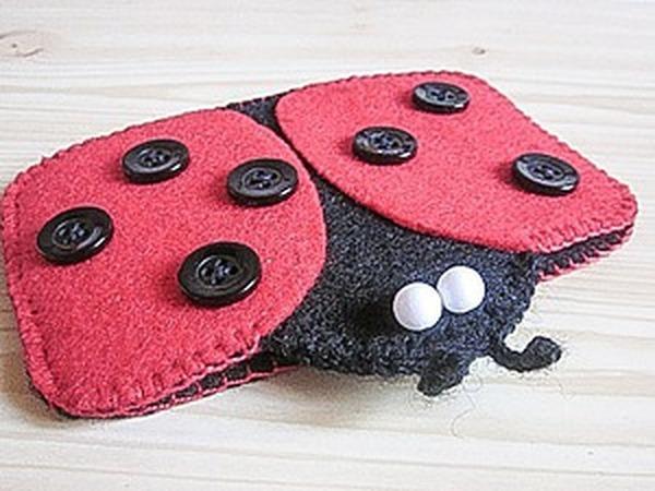 Шьем чехол для телефона «Божья коровка» из фетра | Ярмарка Мастеров - ручная работа, handmade