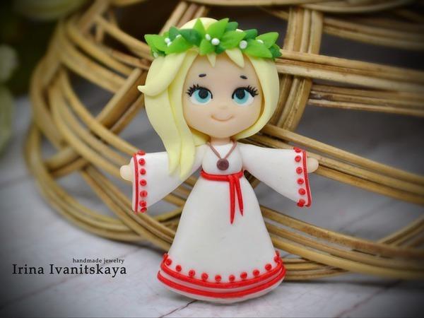 Лепим брошь из полимерной глины: девочка в платье славянского стиля | Ярмарка Мастеров - ручная работа, handmade