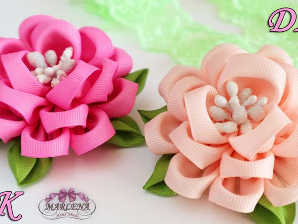 Видео мастер-класс: делаем цветы из репсовых лент | Ярмарка Мастеров - ручная работа, handmade