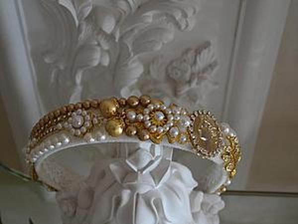 Tiara Gold And White Pearl | Ярмарка Мастеров - ручная работа, handmade