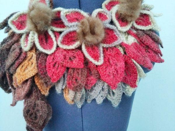 Оригинальные шарфики с мехом норки от 1300 руб   Ярмарка Мастеров - ручная работа, handmade