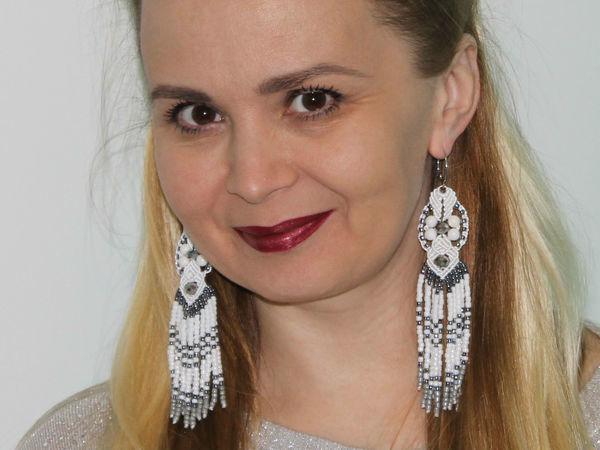 Weave ''Snow Maiden'' Earrings In Macrame Technique | Livemaster - handmade