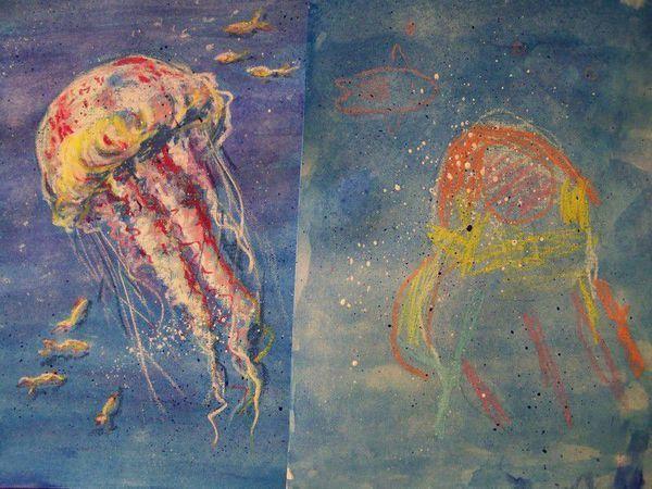 Видеоурок: рисуем медузу с детьми. Масляная пастель и акварель | Ярмарка Мастеров - ручная работа, handmade