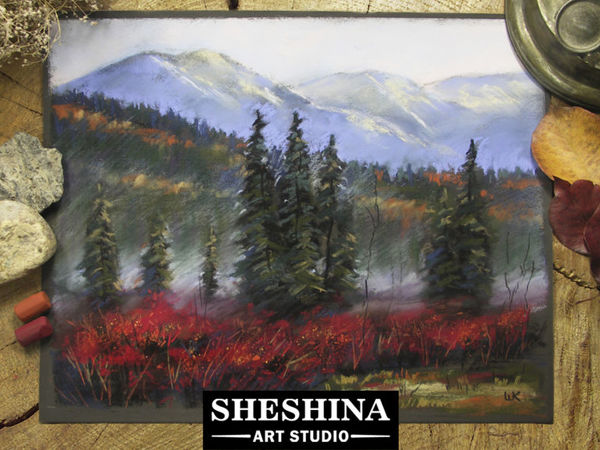 Видеоурок: рисуем осенний пейзаж с туманом сухой пастелью | Ярмарка Мастеров - ручная работа, handmade