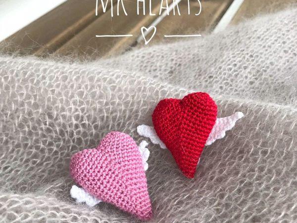 Вяжем брошку Сердечко с крылышками | Ярмарка Мастеров - ручная работа, handmade