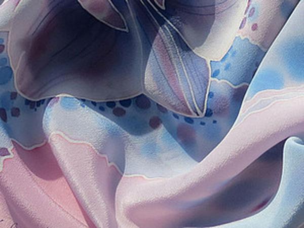 Роспись шелкового шарфа «Орхидеи» | Ярмарка Мастеров - ручная работа, handmade