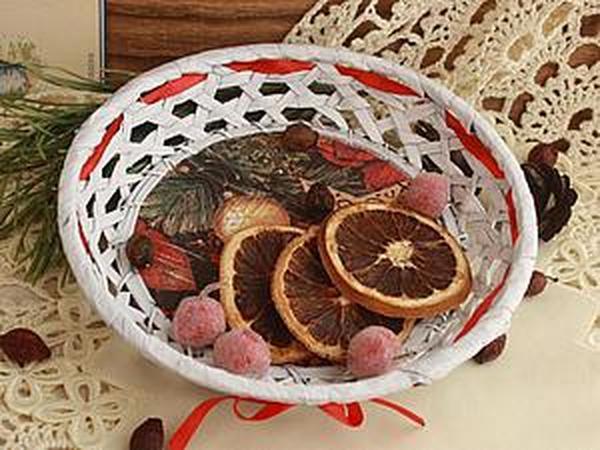 Декорируем плетеную корзинку к Новому году | Ярмарка Мастеров - ручная работа, handmade